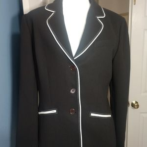 Anne Klein black suit jacket, white piping sz 10